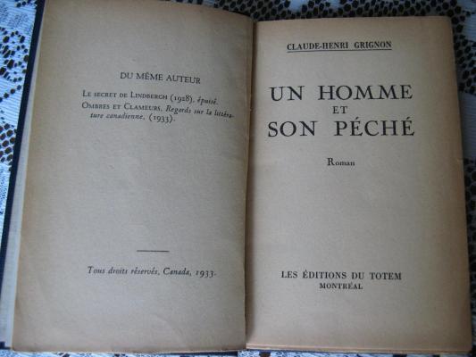 Un homme et son péché 1933 / Éditions du Totem