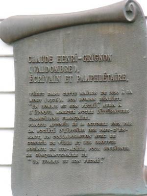 Plaque commémorative  ( Maison Claude-Henri Grignon )