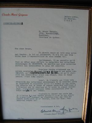 Lettre originale de Claude-Henri Grignon à Bruno Paradis, réalisateur