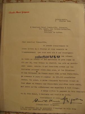Lettre originale de Claude-Henri Grignon à Henri Tranquille, libraire