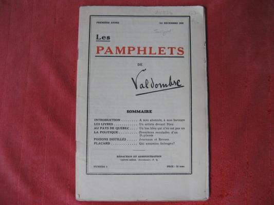 Pamphlets DE Valdombre 1er décembre 1936 #1