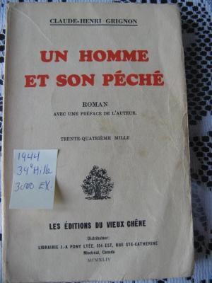 Un homme et son péché 1944 / Éditions du Vieux Chêne